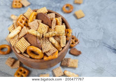 Homemade Salty Snack Party Mix with Pretzels and Cereal