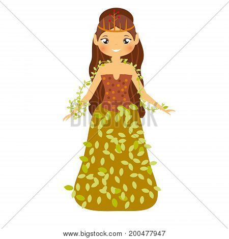 Beautiful fairy in autumn dress decorated with leaves. Girl with elf ears. Forest princess character. Vector illustration for kids and babies