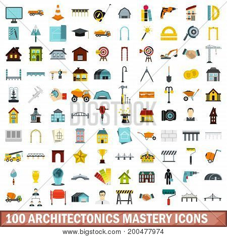 100 architectonics mastery icons set in flat style for any design vector illustration