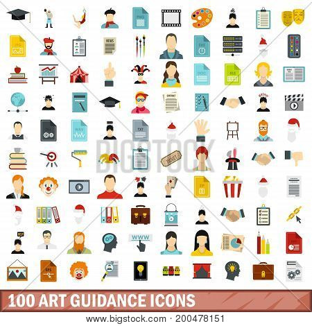 100 art guidance icons set in flat style for any design vector illustration