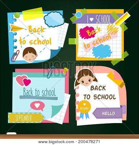 Back to school stickers. Design template of memory sticky notes, study symbols. For marketing advertisements and pupil announcement