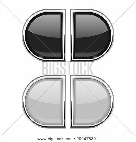 Glass buttons with chrome frame. Black and white web 3d icons. Vector illustration isolated on white background