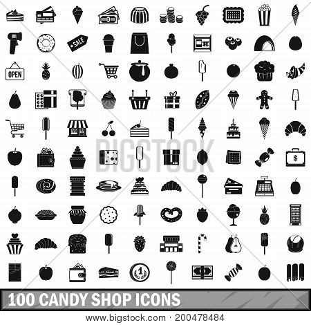 100 candy shop icons set in simple style for any design vector illustration