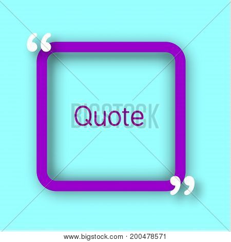 Purple square paper Frame with commas for your text. Quote bubble in realistic style on bright blue background. Design template.