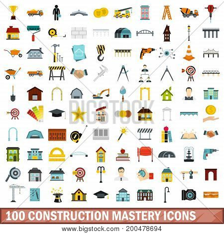 100 construction mastery icons set in flat style for any design vector illustration