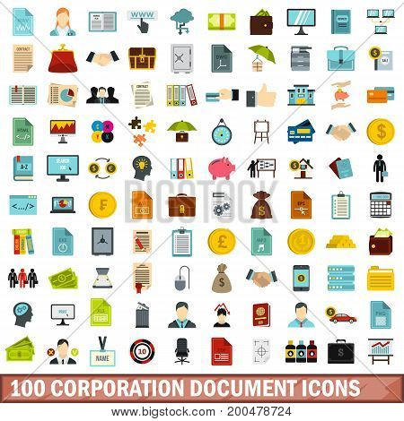 100 corporation document icons set in flat style for any design vector illustration