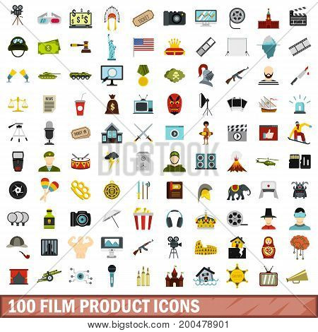 100 film product icons set in flat style for any design vector illustration