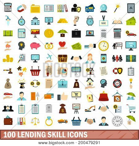 100 lending skill icons set in flat style for any design vector illustration