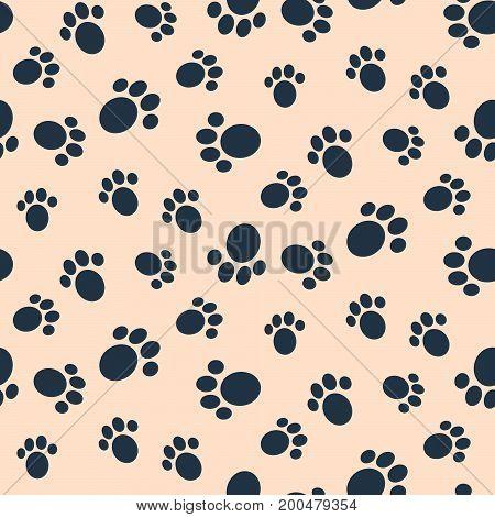 Dog paw print vector seamless pattern. Blue footprints on light pink background.