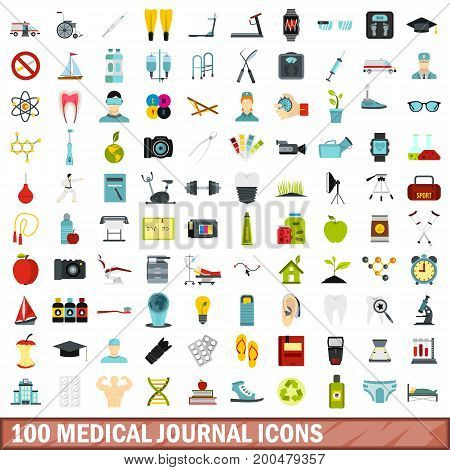 100 medical journal icons set in flat style for any design vector illustration
