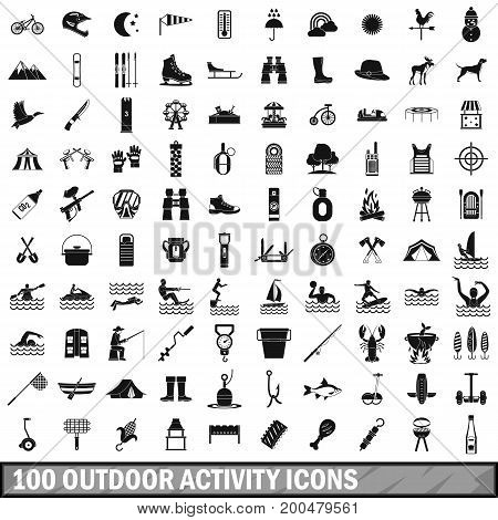 100 outdoor activity icons set in simple style for any design vector illustration
