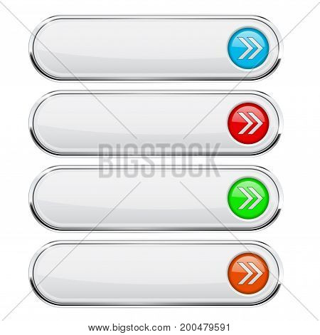 White buttons with colored arrows. Menu interface elements with metal frame. Vector 3d illustration isolated on white background