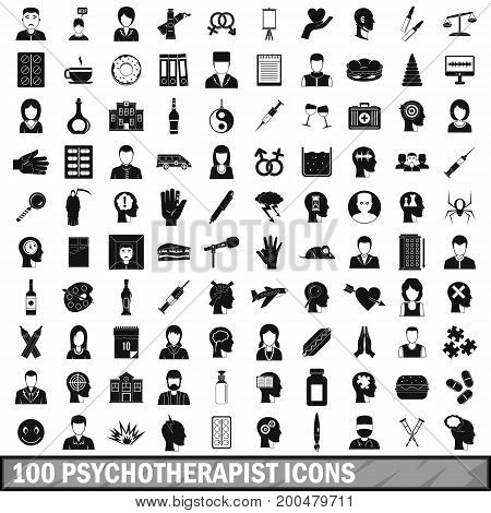 100 psychotherapist icons set in simple style for any design vector illustration