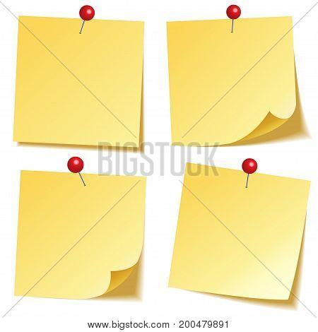 Sticky note with shadow isolated on transparent background. Yellow paper. Message on notepaper.Reminder. Vector illustration.