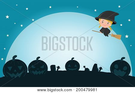 Halloween witch on the moon , vector illustration of Halloween witch ,Halloween  Poster Party