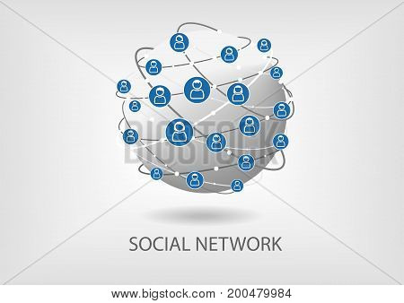 Social network vector icon background with globe and people icons