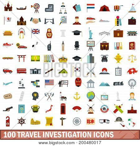 100 travel investigation icons set in flat style for any design vector illustration