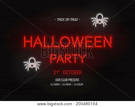 Halloween party light banner. Modern neon billboard on brick wall. Bright signboard with bats.Party invitation. Vector illustration