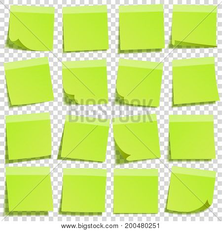 Sticky note with shadow isolated on transparent background. Green paper. Message on notepaper.Reminder. Vector illustration.