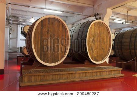 Barrels in the wine cellar photo, Shabo near Odessa, Ukraine, Jule 17, 2017