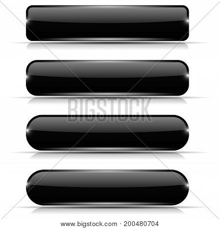 Black glass buttons. Set of long rectangular web interface icons. Vector illustration isolated on white background