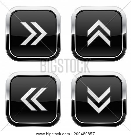Black button with white arrows. Web 3d icons. Vector illustration isolated on white background