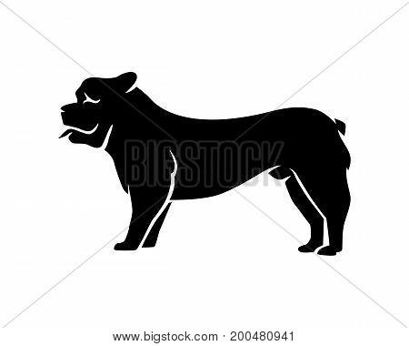 Domestic Cute Happy Dog Pet Bulldog Doggy Silhouette Profile Vector