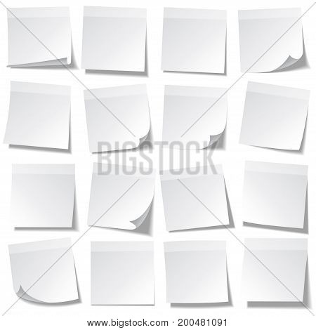 Sticky note with shadow isolated on transparent background. White paper. Message on notepaper.Reminder. Vector illustration.