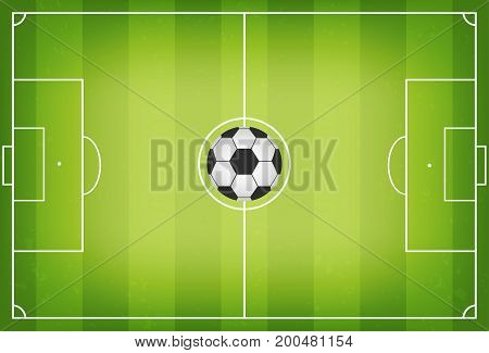 Soccer Field With Football Ball In Center. Soccer Field With Trampled Down Grass. Top View