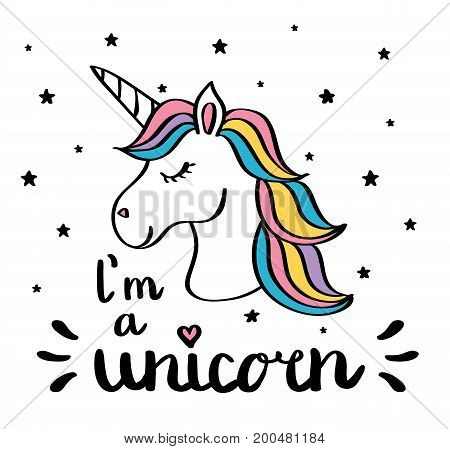 I m a unicorn handwriting text drawing isolated on white vector