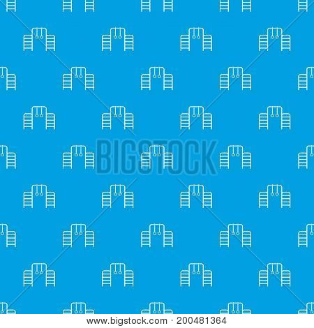 Horizontal bar with climbing rings and ladder pattern repeat seamless in blue color for any design. Vector geometric illustration