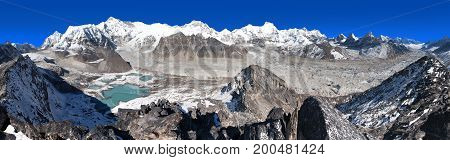 Beautiful panoramic view of Mount Cho Oyu and Cho Oyu base camp mountain lakes Everest Lhotse Gyachung Kang Ngozumba and Gyazumba glaciers - Sagarmatha national park Khumbu valley Nepal