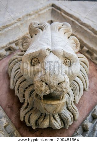 Sculpture Of A Lion At The Baptistery Of Siena, Tuscany, Italy