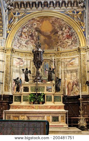 High Altar In The Cathedral Of Siena, Tuscany, Italy