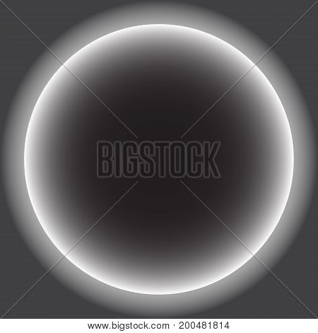 Gray circle with white halo. solar eclipse. vector illustration