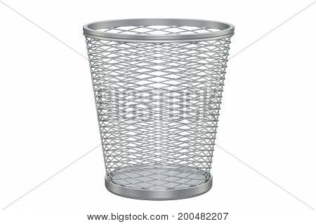 Empty metal garbage bin 3D rendering isolated on white background