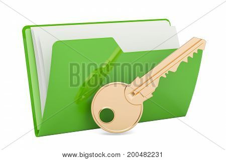 Green computer folder icon with key 3D rendering isolated on white background