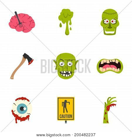 Zombie icon set. Flat set of 9 zombie vector icons for web isolated on white background