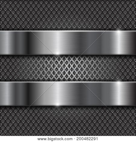 Metal brushed shiny plates on perforated background. Vector 3d illustration