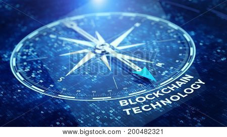 Block chain network concept - Compass needle pointing Blockchain technology word. 3d rendering