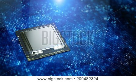 Central Computer Processor on blue digital code background - CPU concept. 3d rendering