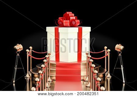Podium with gift box 3D rendering isolated on black background
