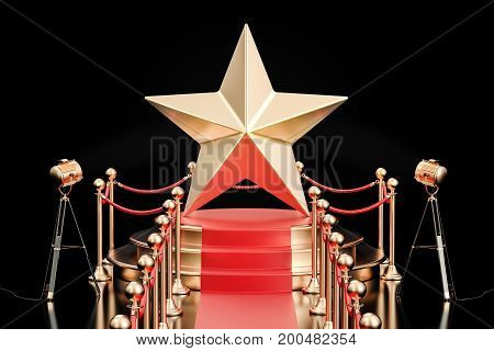Podium with golden star 3D rendering isolated on black background