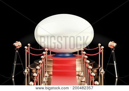 Podium with rugby ball 3D rendering isolated on black background