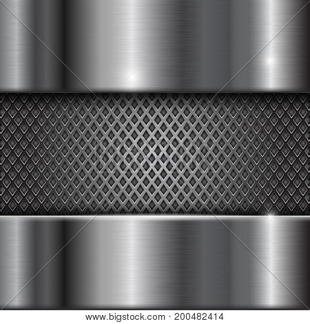 Metal stainless steel shiny background with perforation. Vector 3d illustration