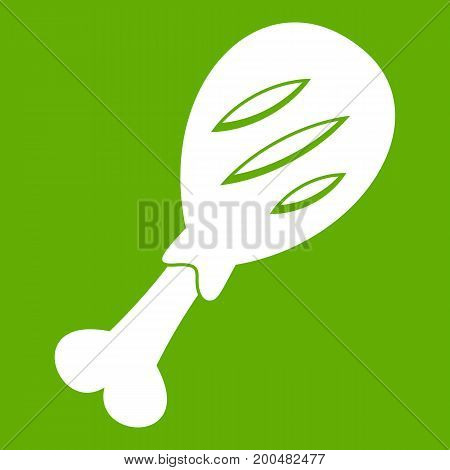 Leg of pork icon white isolated on green background. Vector illustration