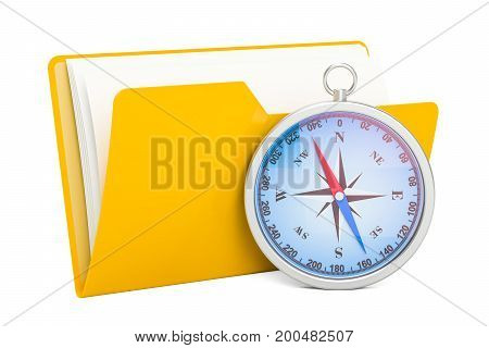 Yellow computer folder icon with compass 3D rendering isolated on white background