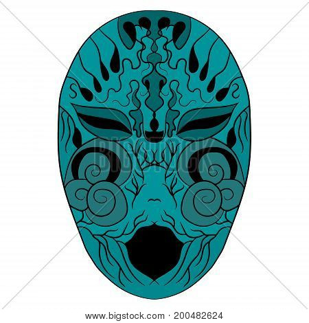 The ethnic mask is a terrible face. vector illustration. Drawing by hand