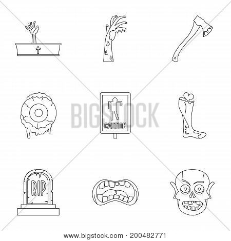 Zombie icon set. Outline set of 9 zombie vector icons for web isolated on white background