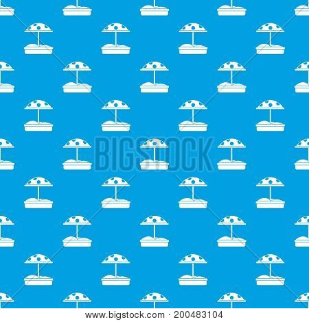 Sandbox with dotted umbrella pattern repeat seamless in blue color for any design. Vector geometric illustration